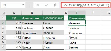 Използвайте оператора @ и копирайте надолу: =VLOOKUP(@A:A;A:C;2;FALSE). Този стил на препратка ще работи в таблици, но няма да върне динамичен масив.