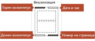 Картината за визуализация ви показва кои елементи ще се виждат на отпечатаните страници за бележки.