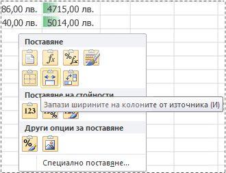 """опции в менюто """"визуализация на поставянето"""""""