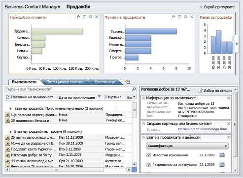 Работна област за продажби на Business Contact Manager без лентата и Naviation екран