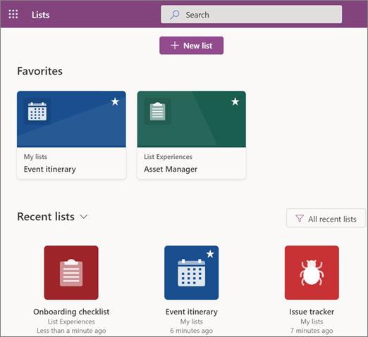 Екранна снимка на началната страница на Microsoft lists