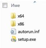 Структура на папките за избор на платформа за инсталиране на 64-битова версия на Office 2010.