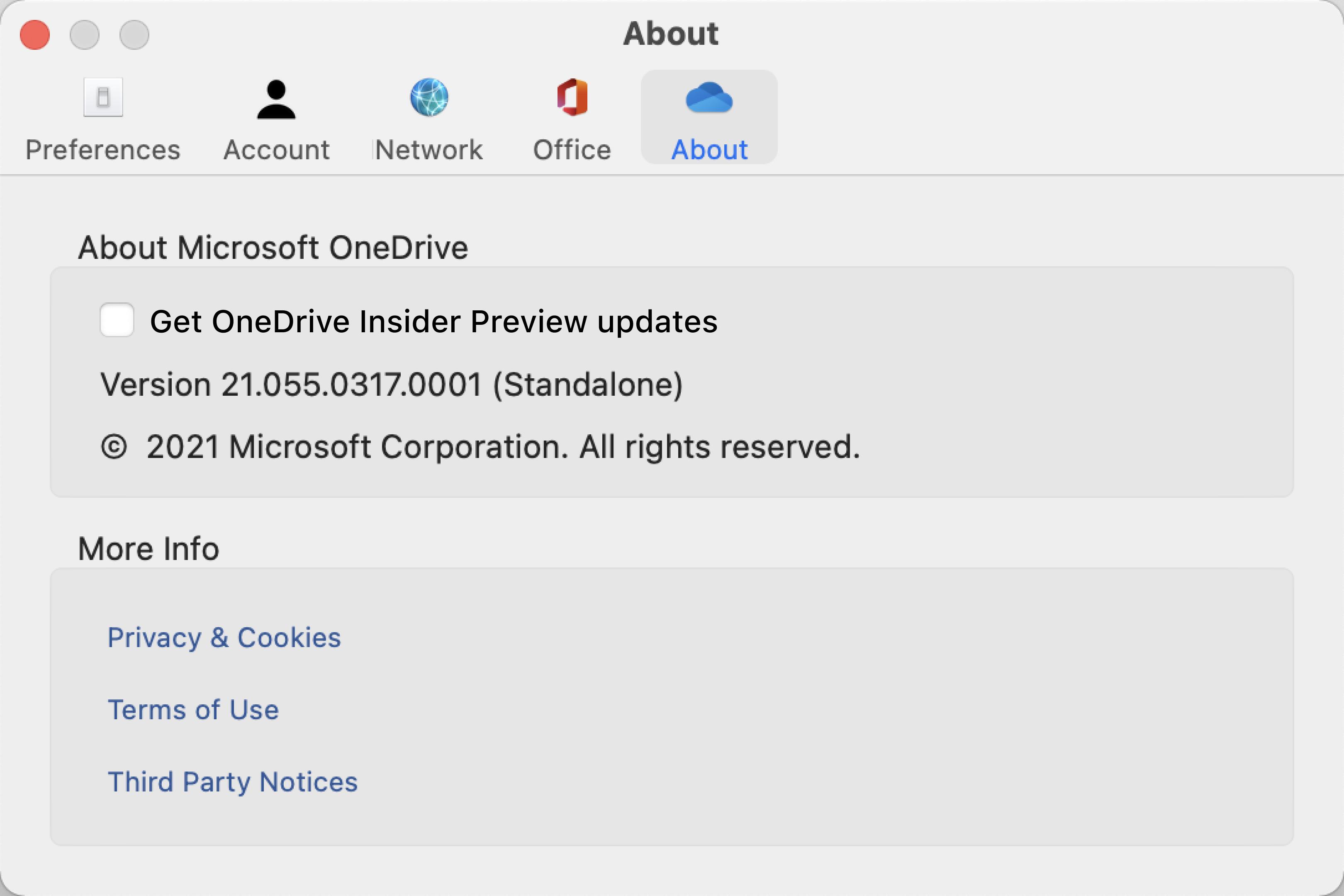 """Показва екрана За OneDrive на Mac. Информацията за компилацията и версията е под """"За Microsoft OneDrive""""."""