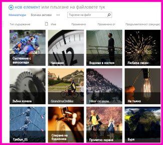 Екранна снимка на ''Библиотека с активи'' в SharePoint. Тя показва миниатюри на няколко видеоклипа и изображения, които се съдържат в библиотеката. Тя показва също стандартните колони за метаданни за мултимедийни активи.