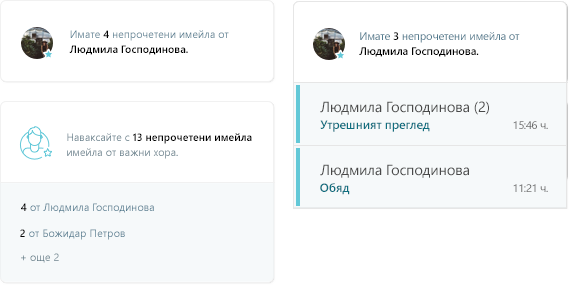 Екранна снимка на MyAnalytics имейл дейност