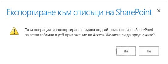 """Екранна снимка на диалоговия прозорец за потвърждение. Щракване върху """"да"""" експортира данните в списъци на SharePoint, а щракване върху """"не"""" отменя експортирането."""