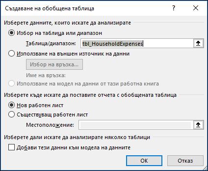 Excel – Вмъкване > Опции за обобщена диаграма...