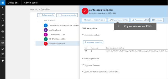 В панел щракнете върху управление на DNS
