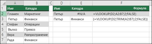 Използване на VLOOKUP с TRIM във формула за масив за премахване на начални/крайни интервали.  Формулата в клетка E3, е {= VLOOKUP(D2;TRIM(A2:B7);2;FALSE)} и трябва да бъдат въведени с CTRL+SHIFT+ENTER.