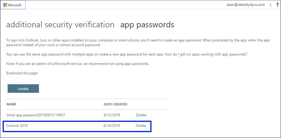 Страница с пароли за приложения, с ново приложение, показано в списъка