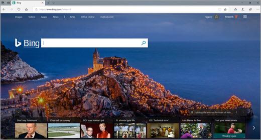 Прозорец на браузъра Edge