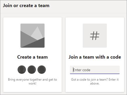 """Въведете код на екипа в групата """"присъединяване към екип"""" с плочка """"код"""""""