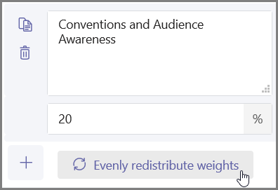 """Щракнете върху бутона """"Равномерно разпределение на тежестта"""" за автоматично задаване на проценти и точки"""