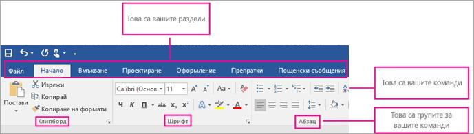Картина, показваща частите на лентата: раздели, команди, групи от команди