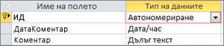 Първичен ключ от тип автономериране, обозначен с ИД в изглед за проектиране на таблица на Access