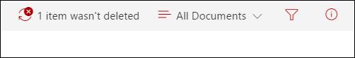 Съобщение, което елемент не е изтрит от SharePoint