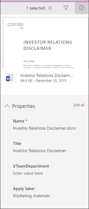 Приложни етикет, показани в екрана с подробни данни