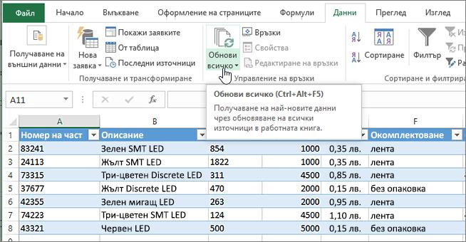 Електронна таблица на Excel с импортиран списък и осветен бутон за обновяване на всички.