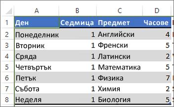 Таблица с цвят, приложен към редуващи се редове