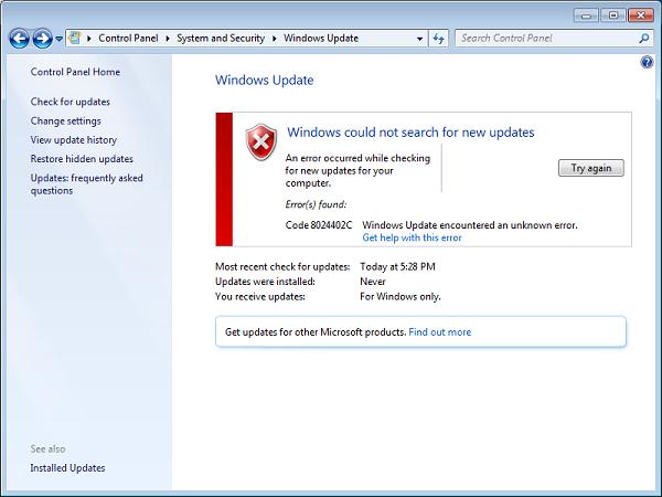 Error code 8024402c