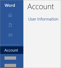 """Екранна снимка на областта """"Акаунт"""" в приложение на Office"""