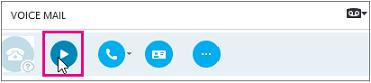 """Бутон """"Възпроизвеждане на гласова поща"""" в Skype за бизнеса."""