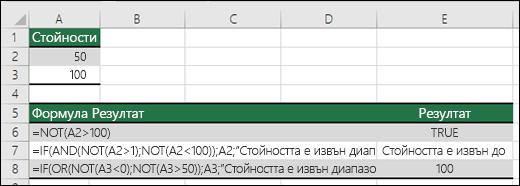 Примери за NOT с функции IF, AND и OR