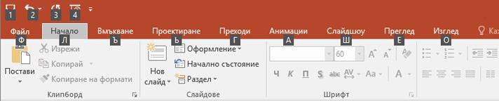 клавишни подсказвания на лентата в PowerPoint