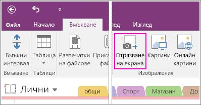 Екранна снимка на бутона за вмъкване на изрязване на екрана в OneNote 2016.