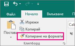 """Показва бутона """"Копиране на формати"""" в Publisher"""
