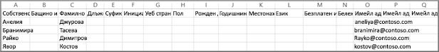 Примерен csv файл, експортиран от Google.