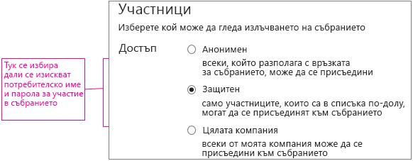 Екранът за подробни данни за събрание с изнесени нива на достъп