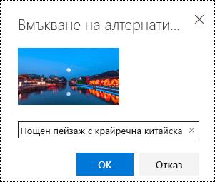 """Диалогов прозорец """"алтернативен текст"""" в Outlook в уеб."""
