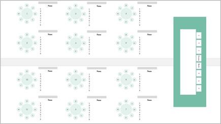 Концептуално изображение на графика за местата на банкет
