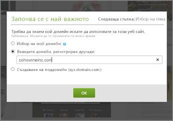 """Във """"First things first"""" в GoDaddy въведете домейн, регистриран някъде другаде"""