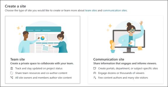 Изображение на опцията за създаване на екипен сайт или сайт за комуникация в SharePoint.