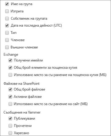 групи на Office 365 отчет – избор на колони