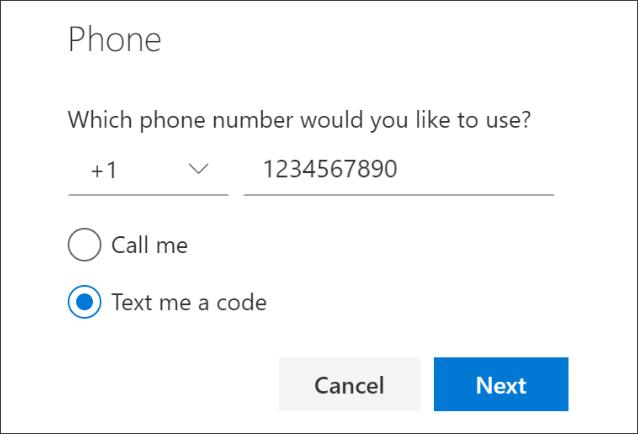 """Екранна снимка, която показва страницата """"Телефон"""", с избрана опция """"Текст на код""""."""