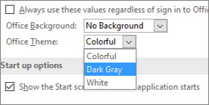 """Падащо меню """"Тема на Office"""", опции за тема """"Цветна"""", """"Тъмносива"""" и """"Бяла"""""""