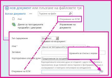 Една колона ''Управлявани метаданни'' дава възможност на потребителите да избират предварително дефинирани стойности, които да въвеждат в колоната с помощта на свойствата на документа.