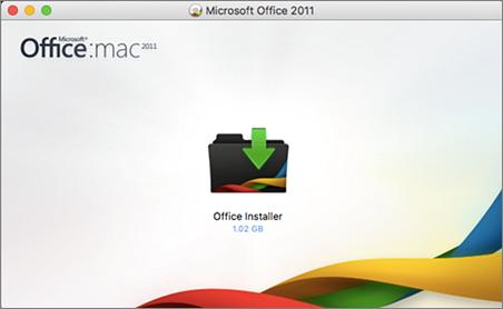 Екранна снимка на инсталиращата програма на Office за Office for Mac 2011