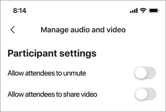 Изберете Позволи на участниците да изключа звука