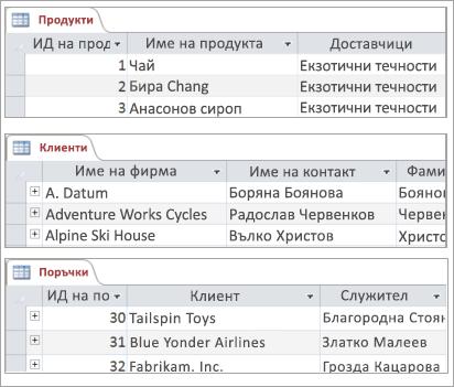 Фрагменти от код на продукти, клиенти и поръчки таблици