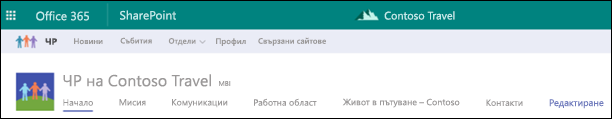 SharePoint концентратор сайт споделен навигация
