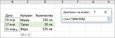 Диалоговия прозорец диапазон на етикетите на данни