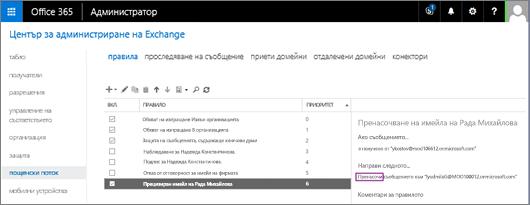 """Екранната снимка показва страницата """"Правила"""" на областта """"Пощенски поток"""" в центъра за администриране на Exchange. Квадратчето за отметка """"Вкл."""" е избрано за правилото за пренасочване на пощата на потребителя Анелия Джурова."""