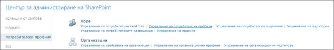 Управление на потребителски профили връзка на страницата за потребителски профили