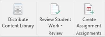 Ред на иконите, означавайки разпространение на библиотеката за съдържание, преглед ученик работа и създаване на задача.