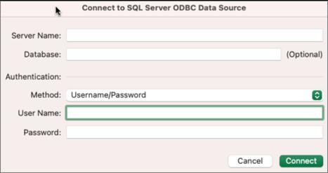 Диалоговият SQL Server за въвеждане на сървър, база данни и идентификационни данни