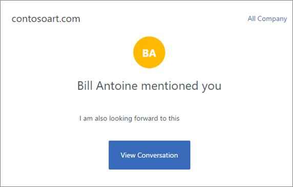 """Екранна снимка показва Yammer имейл известие, което кондензира съобщението и включва бутон с име """"Изглед на разговор"""", който отива към разговор на Yammer."""